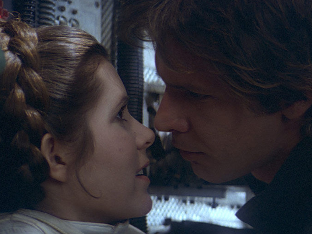 Leia Organa and Han Solo in an intimate moment aboard the Millennium Falcon