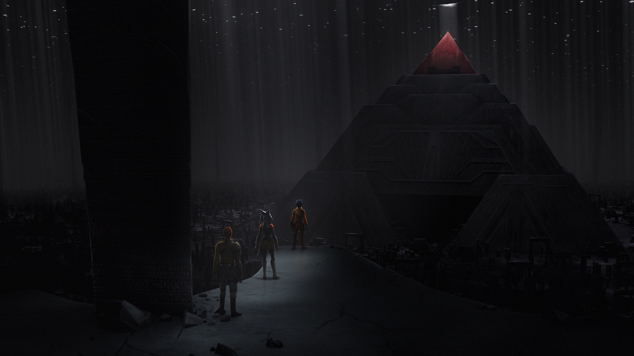 Kanan Jarrus, Ahsoka Tano, and Ezra Bridger overlook the Malachor Sith Temple