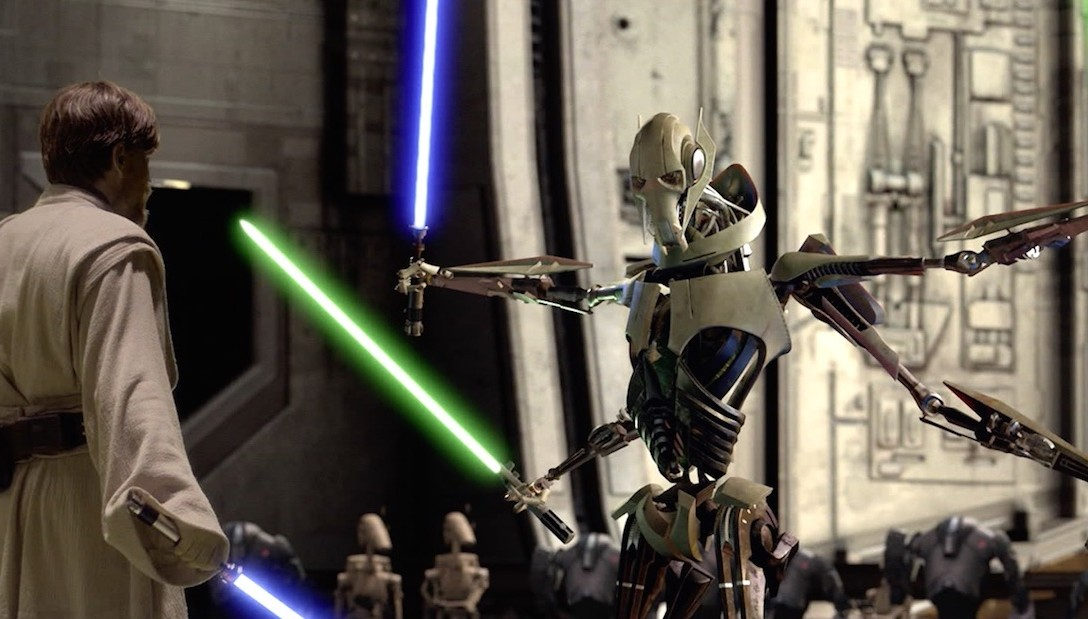 General Grievous squares off against Obi-Wan Kenobi in Star Wars: Revenge of the Sith.