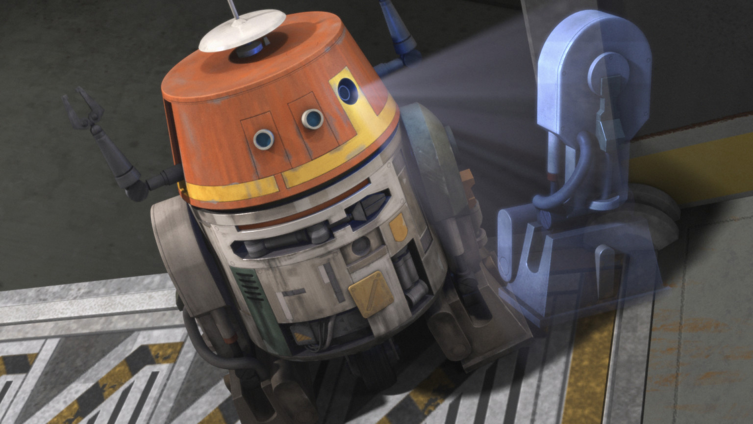 Chopper projecting an image of an astromech droid component
