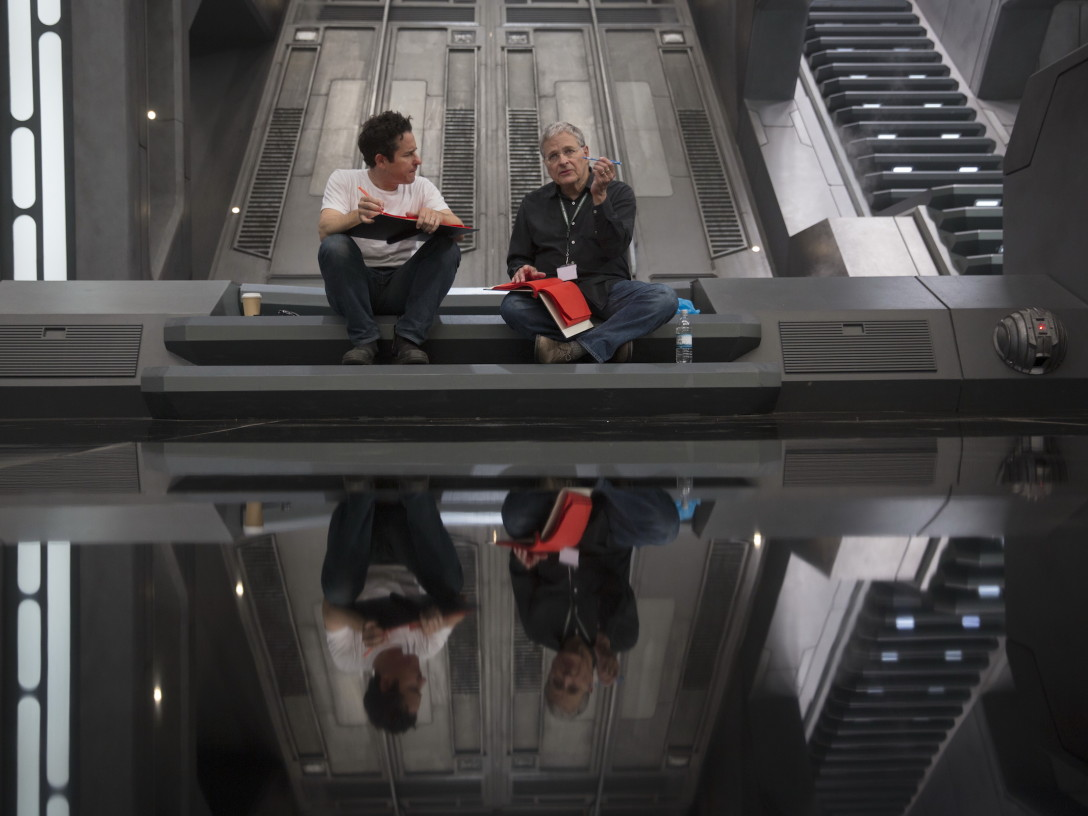 "JJ Abrams and Lawrence Kasdan on the set of ""The Force Awakens"""