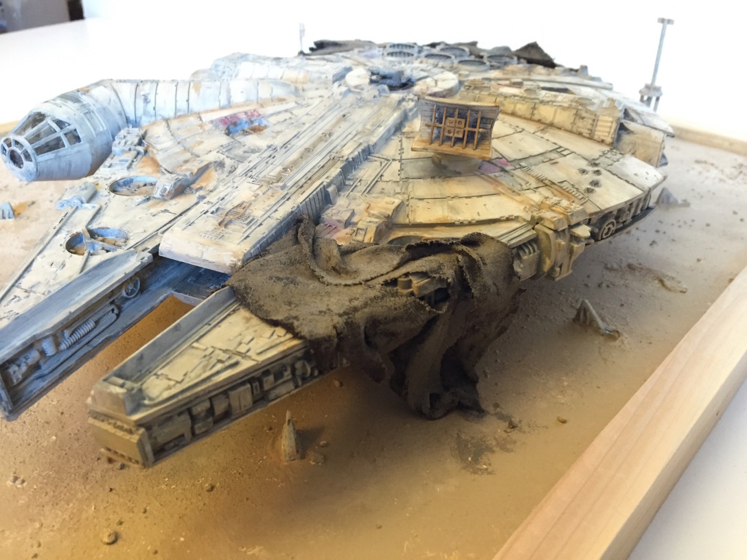 Front close-up of Kelly Krider's Jakku-Falcon diorama