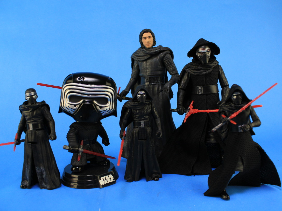 Assorted Kylo Ren action figures from various brands