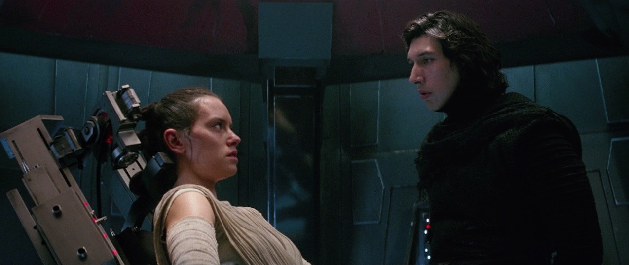 Kylo Ren interrogating Rey aboard the Finalizer