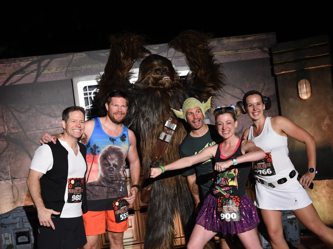 runDisney Dark Side Half-Marathon - Runners with Chewbacca