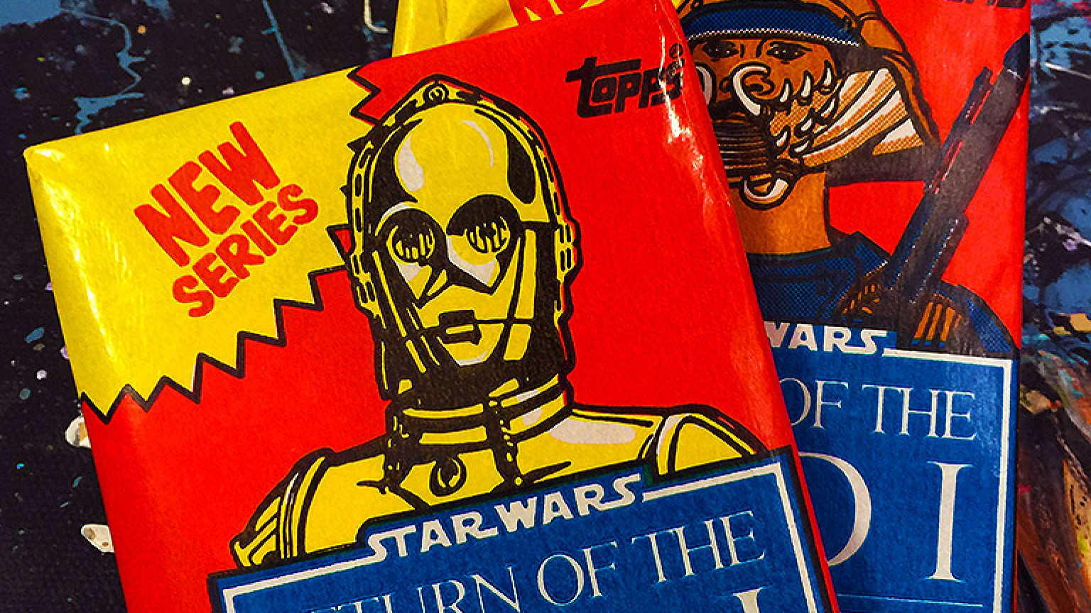 "Topps ""Return of the Jedi"" trading cards featuring C-3PO and Lando Calrissian"