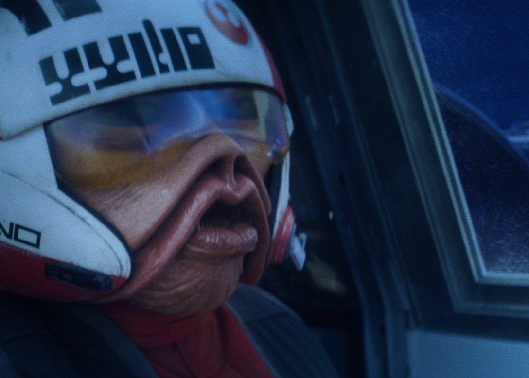 Nien Nunb commandeering an X-Wing starfighter