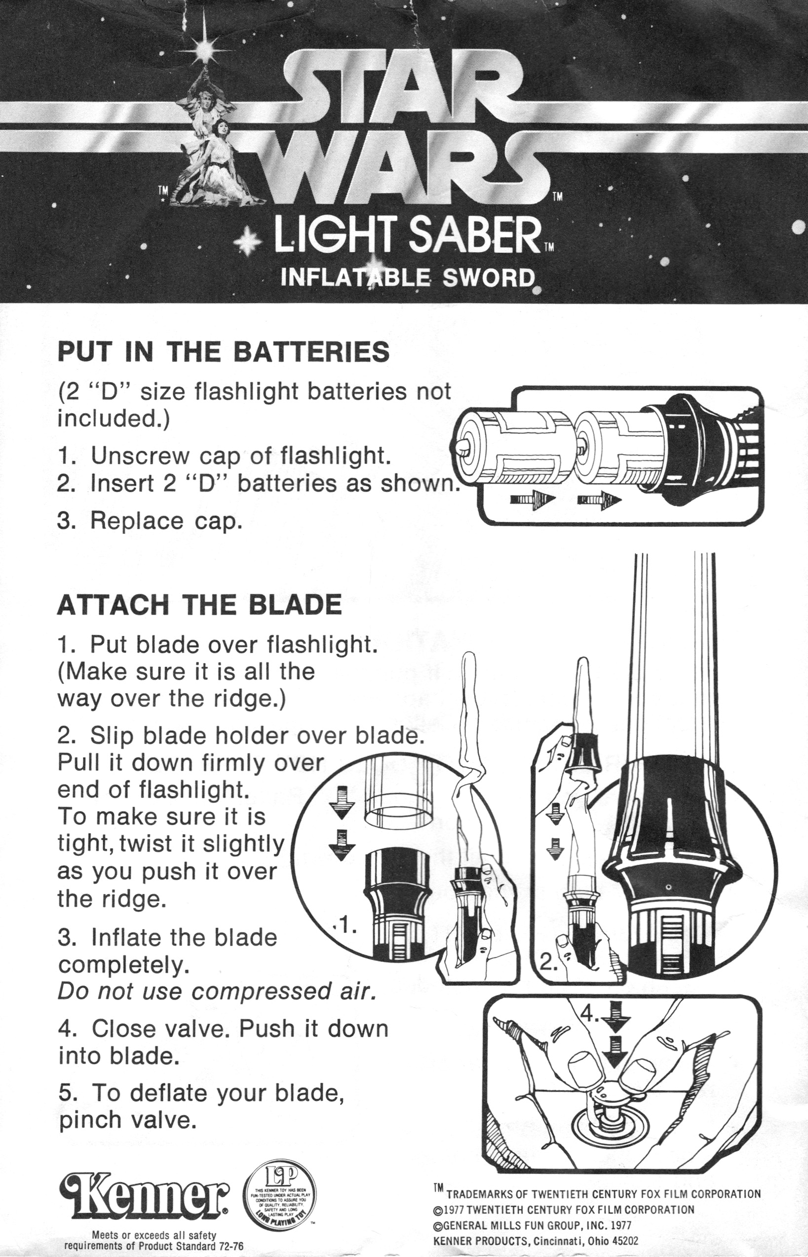 Kenner Toy Lightsaber Instructions