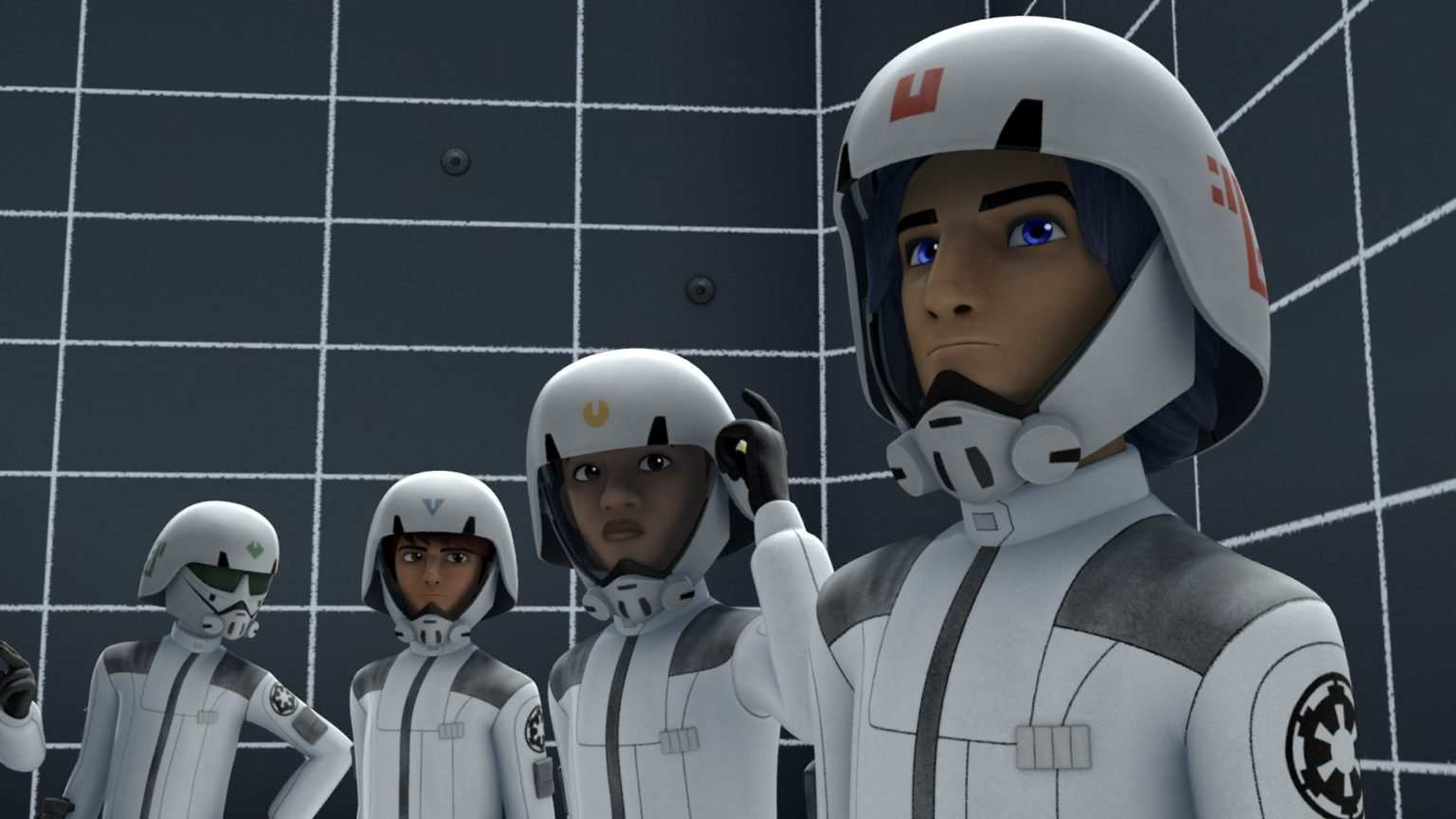 Jai Kell, Zare Leonis, and Ezra Bridger as cadets in the Lothal Imperial Academy