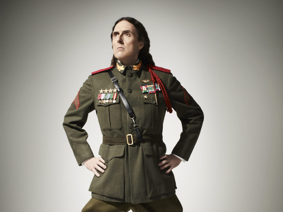 Weird Al posing for his Mandatory Fun Tour