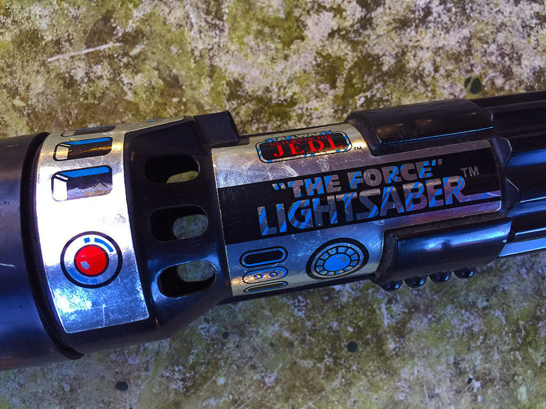 "Close-up shot of Kenner's ""'The Force' Lightsaber"""