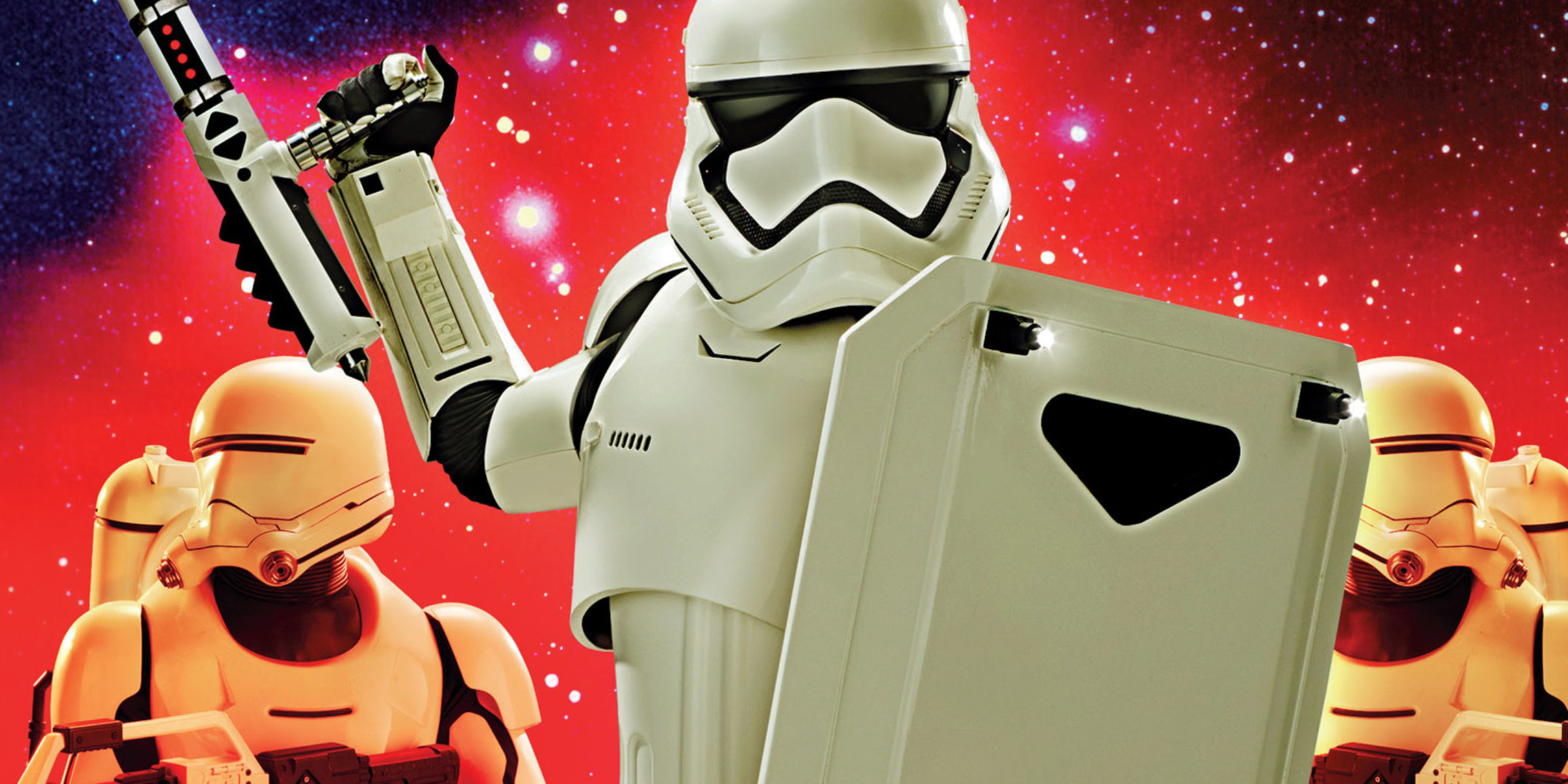 """Star Wars Insider"" cover featuring a First Order riot control stormtrooper flanked by First Order flametroopers"