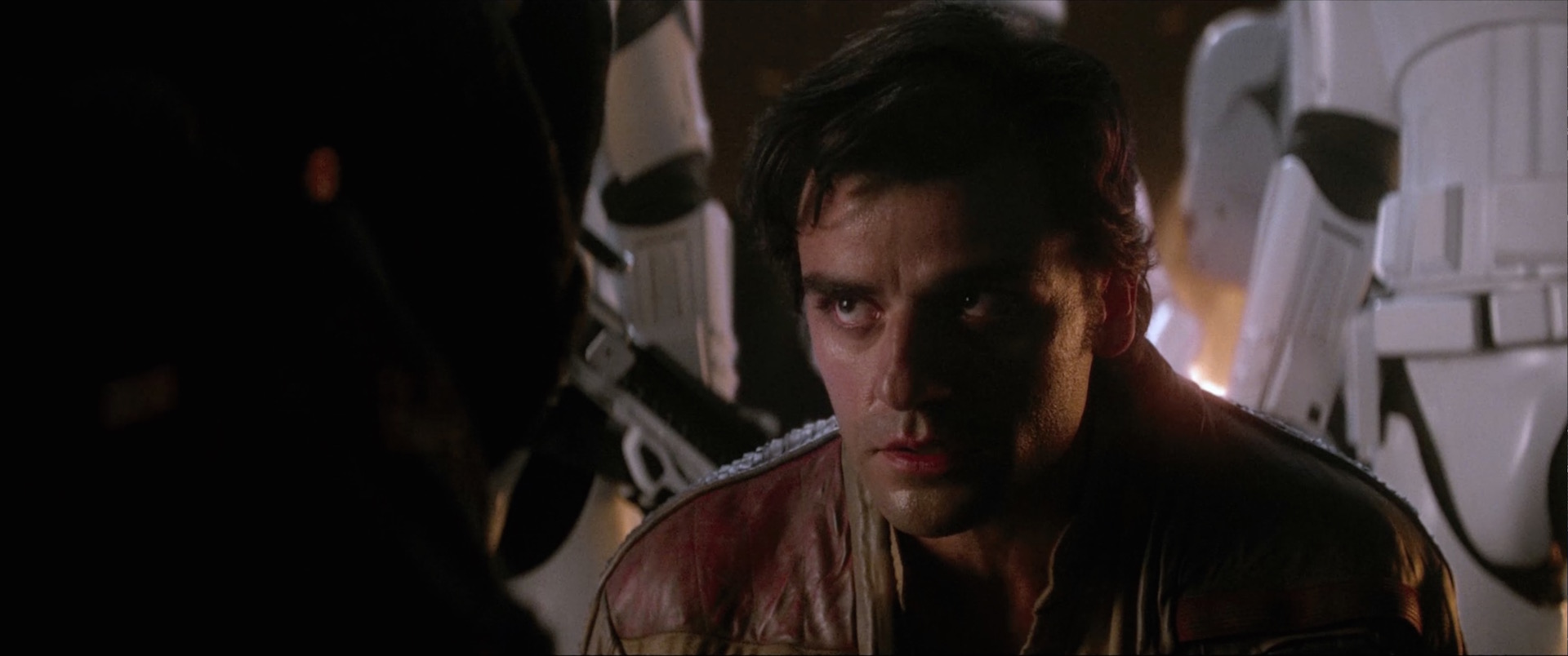 Poe Dameron faces Kylo Ren in Star Wars: The Force Awakens.