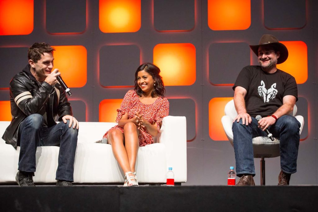 San Witwer, Tiya Sircar, and Dave Filoni on stage at Star Wars Celebration.