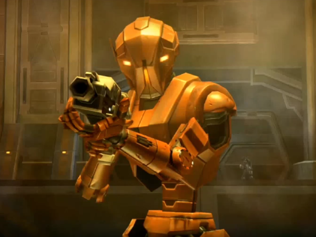 HK-47 aiming a blaster