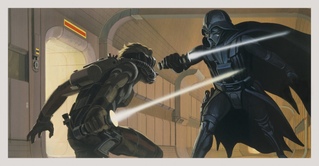 Ralph McQuarrie concept art of Luke vs. Vader