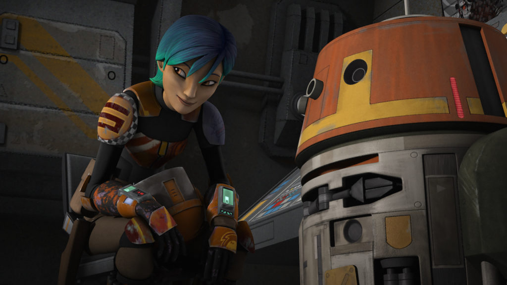 Sabine Wren with Chopper.