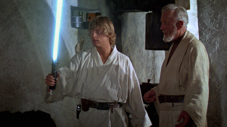 Obi-Wan Kenboi and Luke Skywalker in A New Hope