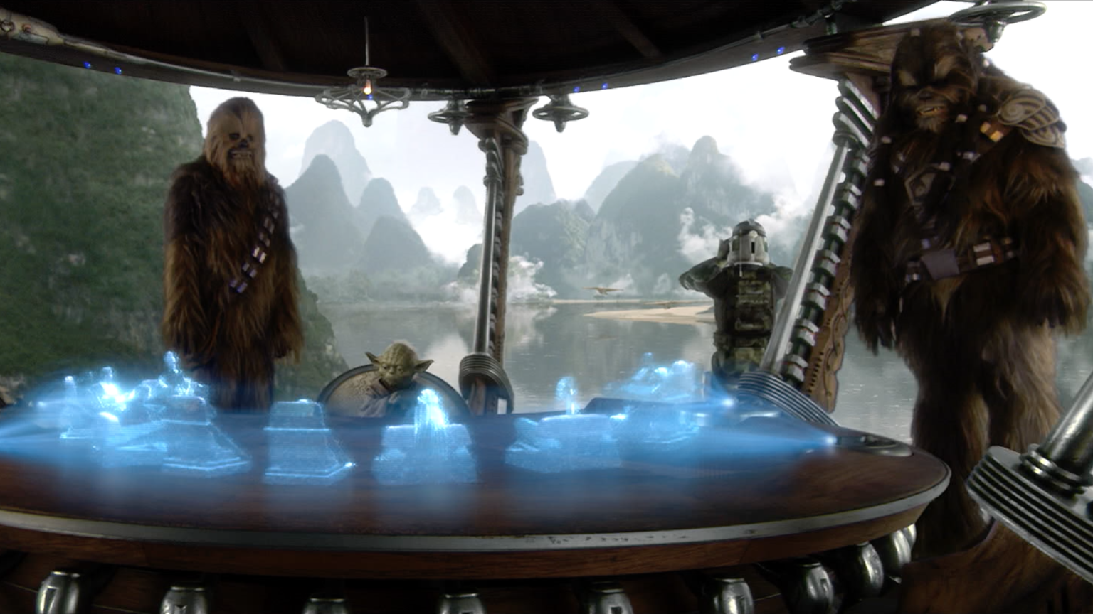 Chewbacca, Yoda, and Tarfful addressing a holoprojection of the Jedi Council