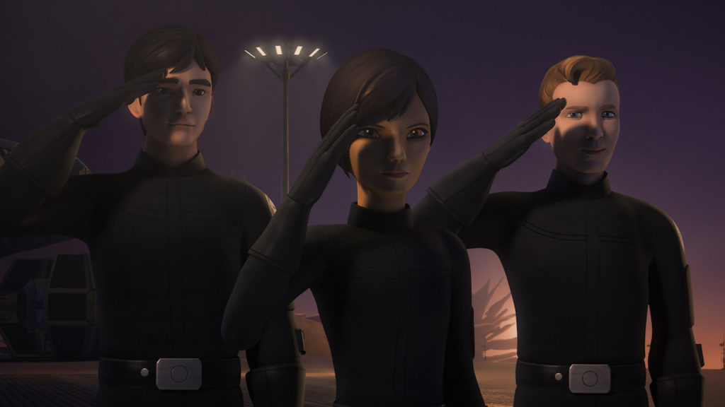 Hobbie and Sabine at the Imperial Academy in Star Wars Rebels.