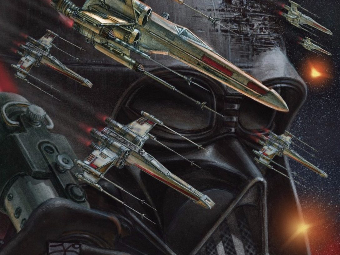 Darth Vader #25 variant cover; X-Wing starfighters superimposed over a large visage of Darth Vader