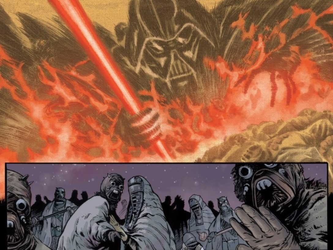 The vengeful spirit of Darth Vader being unleashed on Tusken Raiders