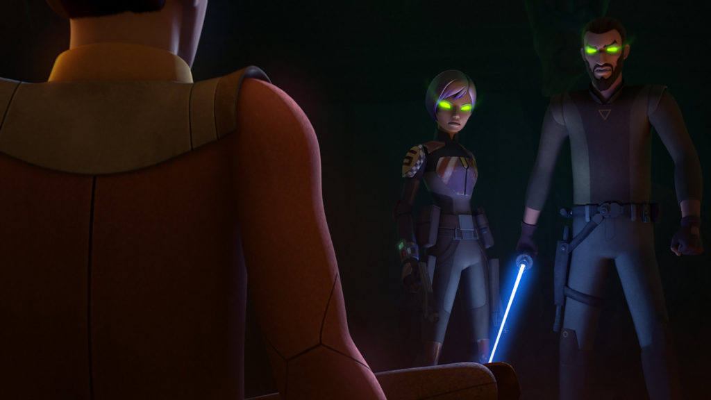 Sabine and Kanan, possessed by Nightsister spirits, face Ezra.