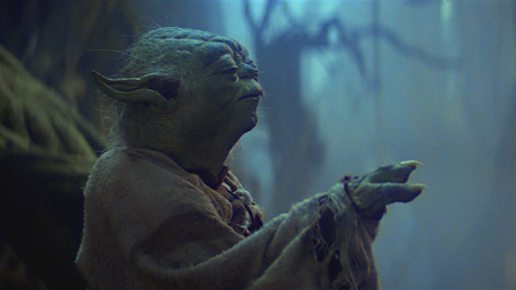 Yoda raises the X-wing on Dagobah in Star Wars: The Empire Strikes Back.