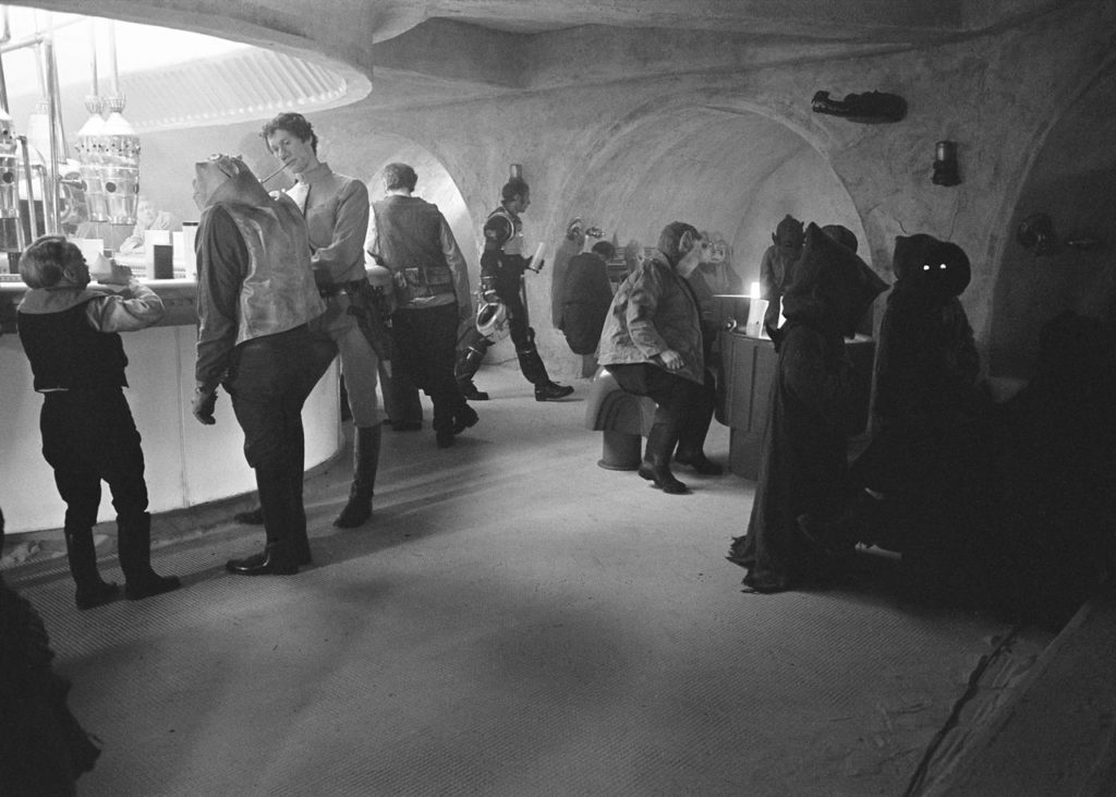 The Mos Eisley cantina, with a crocodile head visible on the wall.