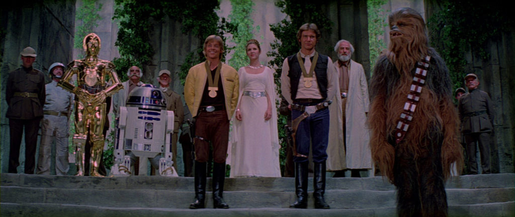 Han and Luke receive their medals in Star Wars: A New Hope.