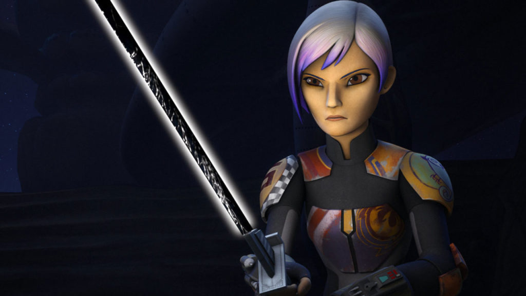 Sabine Wren with the Darksaber.