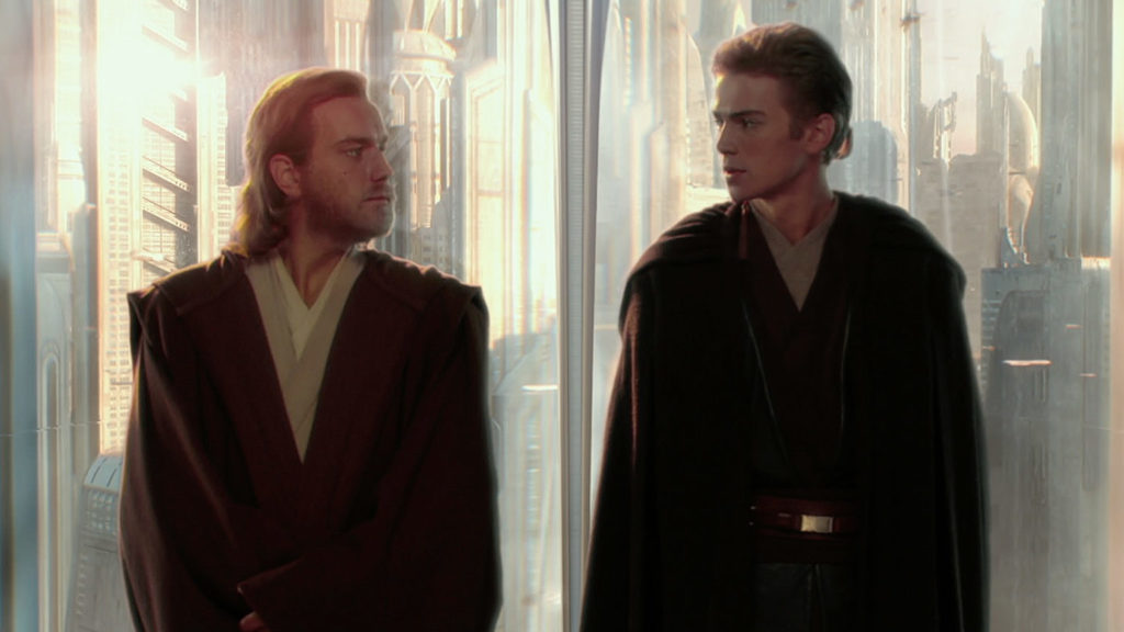 Anakin and Obi-Wan on Coruscant in Star Wars: Attack of the Clones.