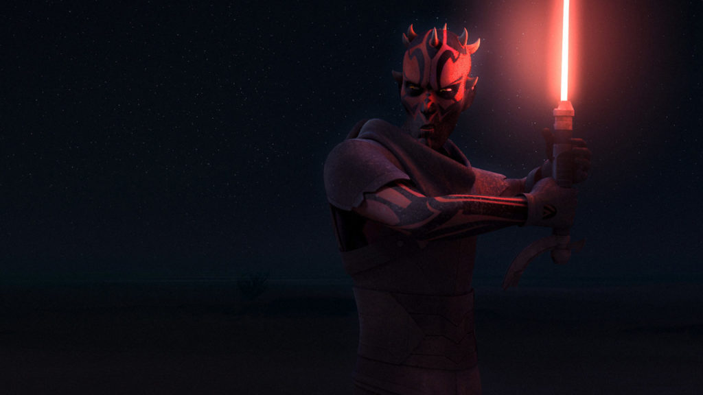 Maul prepares to fight Obi-Wan Kenobi in Star Wars Rebels.