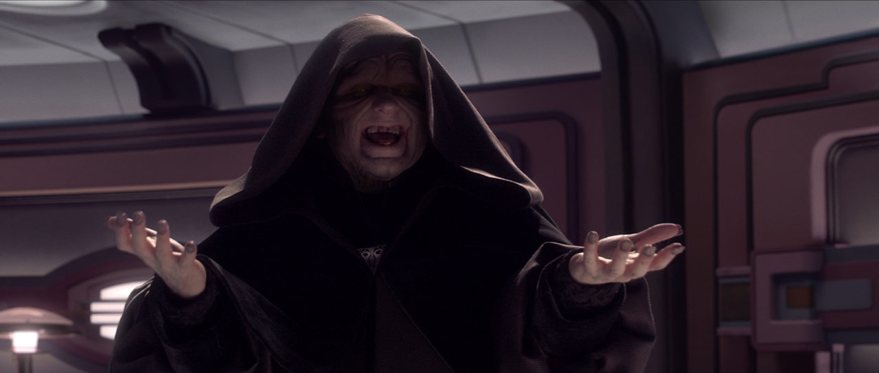 Emperor Palpatine laughs.