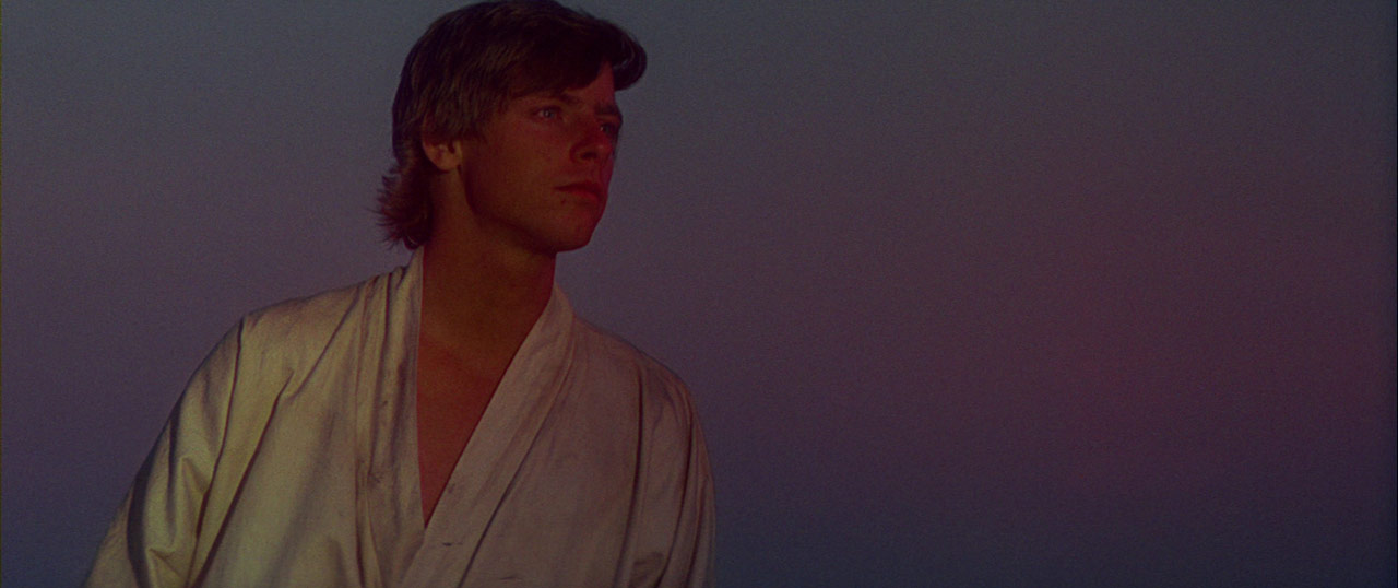 Luke Skywalker watches the twin suns set on Tatooine.
