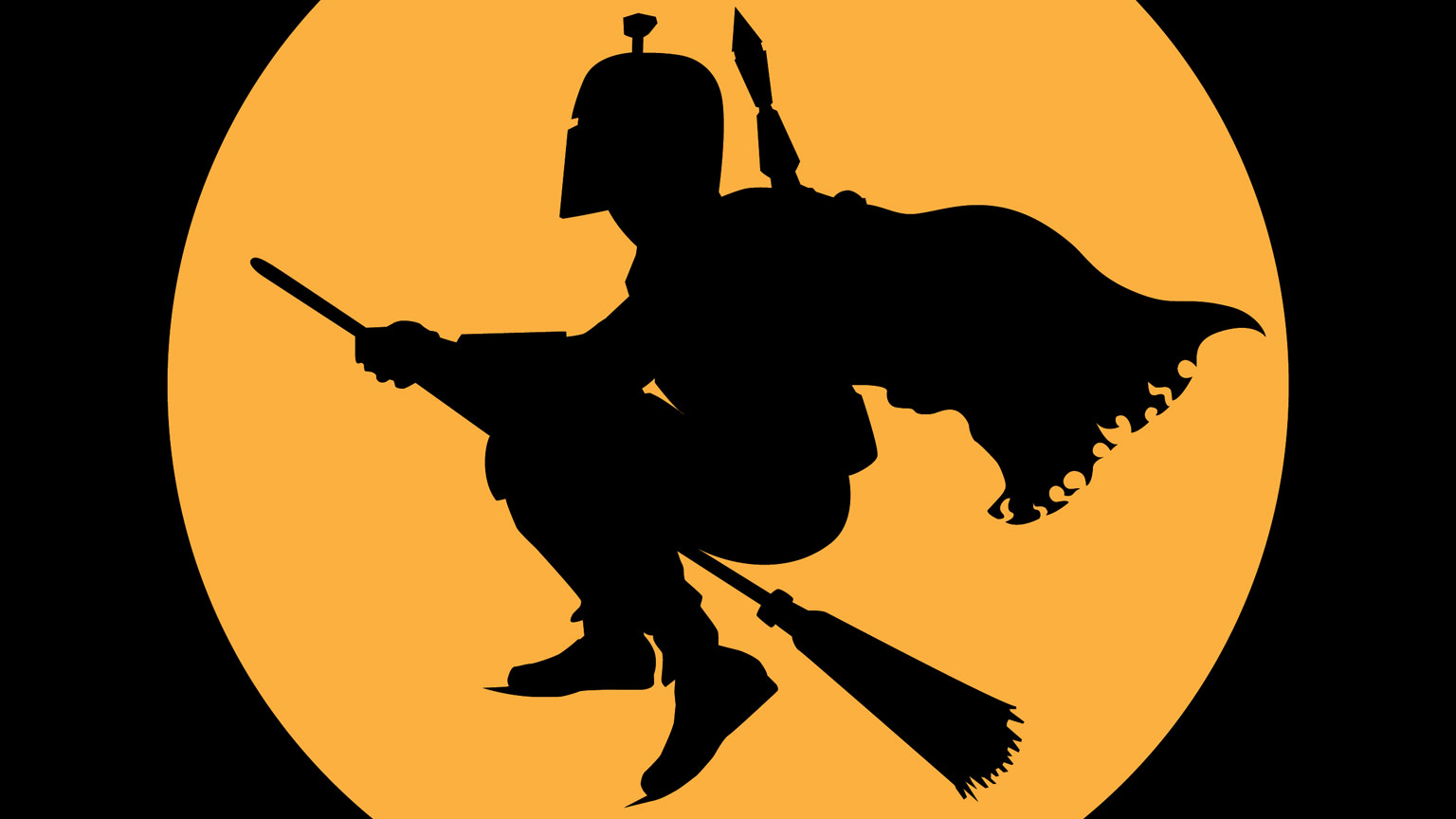 Cartoon image of Boba Fett flying on a broomstick in the moonlight!