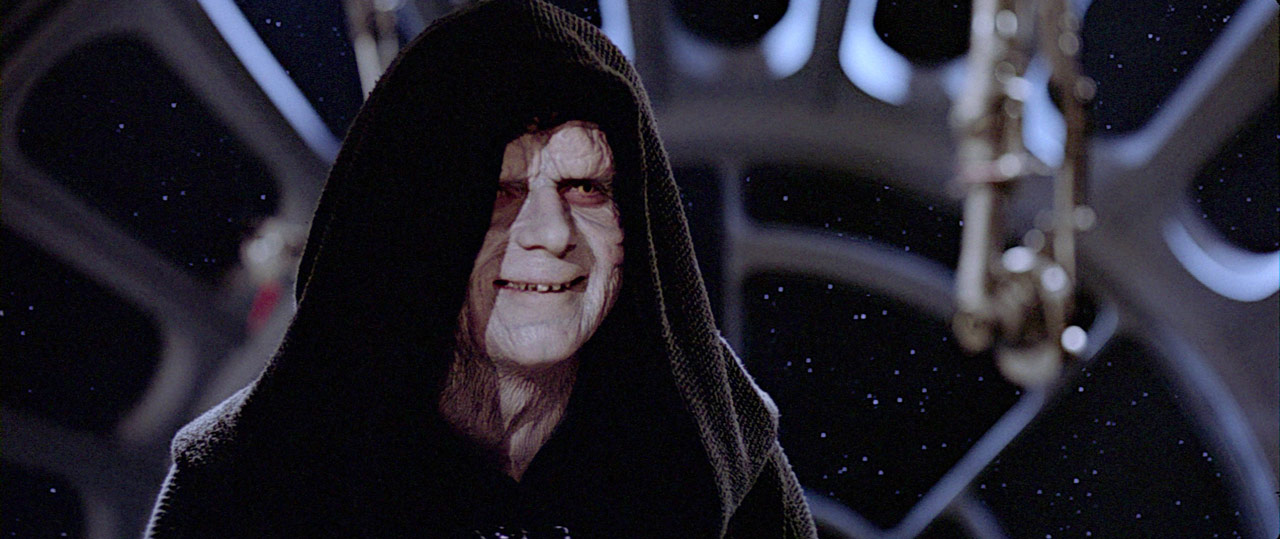 The Emperor laughs in Star Wars: Return of the Jedi.