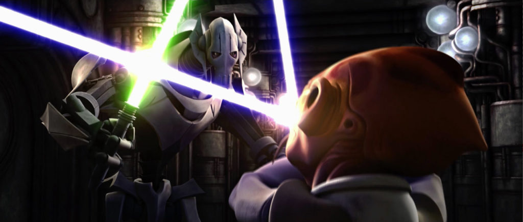 General Greivous battles a Jedi in Star Wars: The Clone Wars.