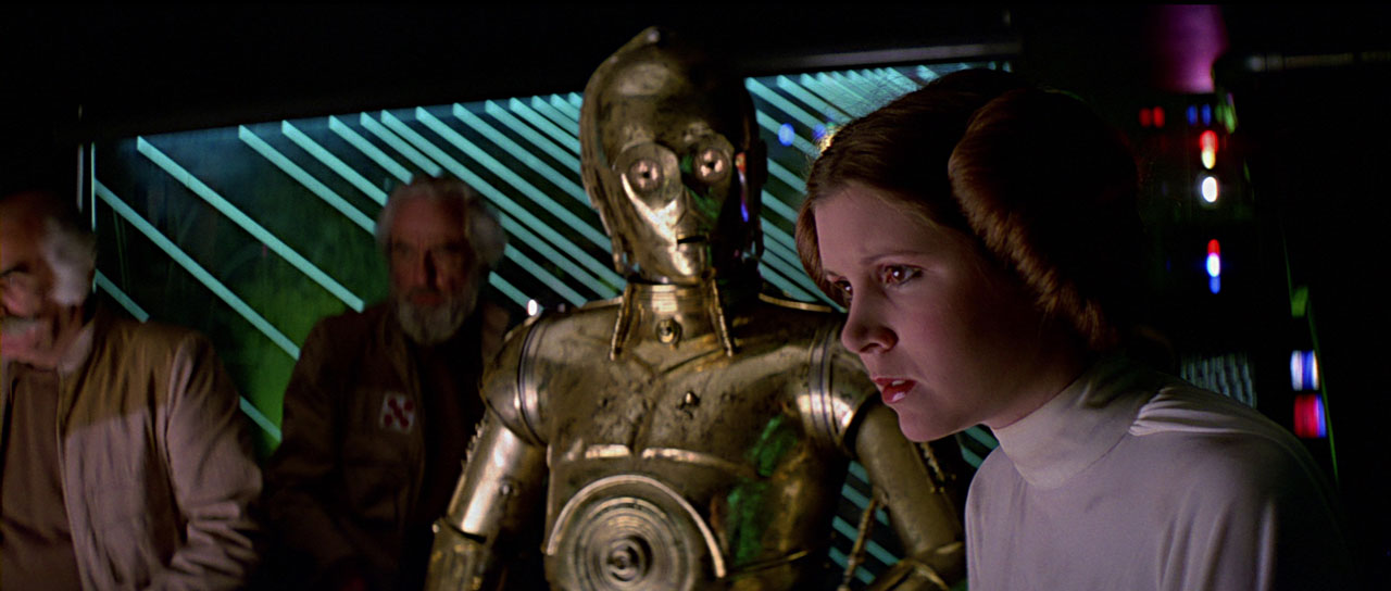 Leia and C-3PO in A New Hope