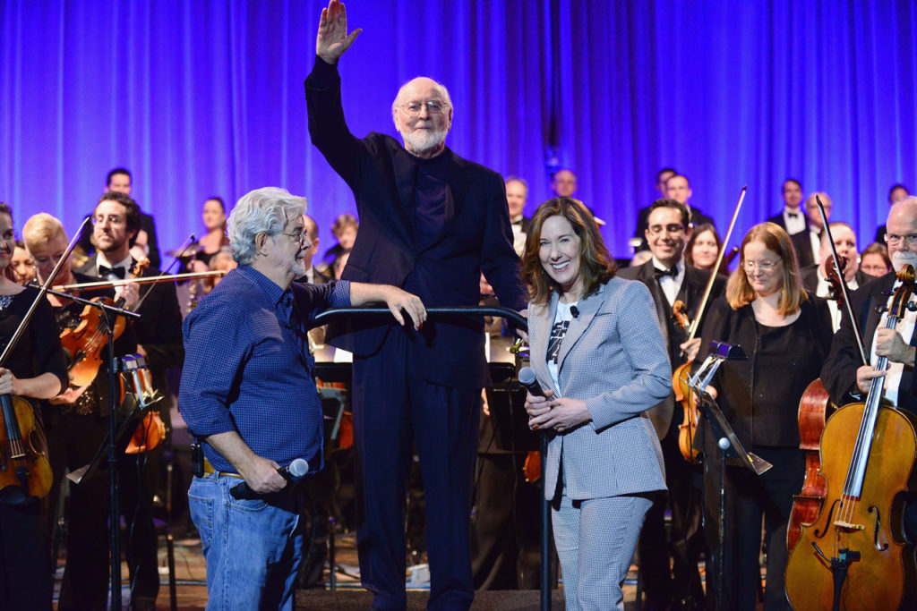 John Williams with George Lucas and Kathleen Kennedy after his surprise performance at Star Wars Celebration Orlando 2017.