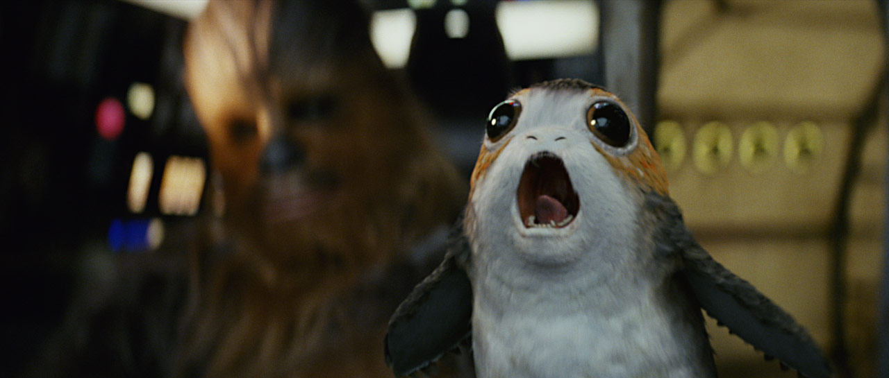 Chewbacca and a porg in the Millennium Falcon