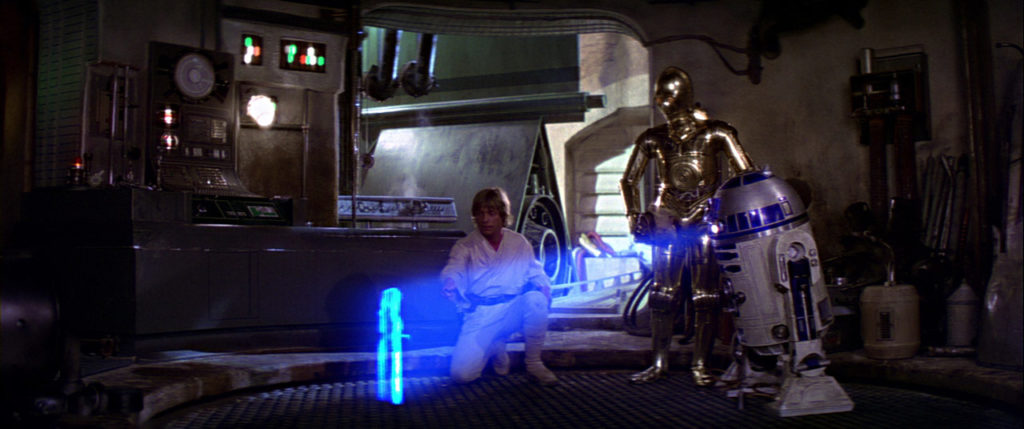 R2-D2 plays Princess Leia's hologram in Star Wars: A New Hope.