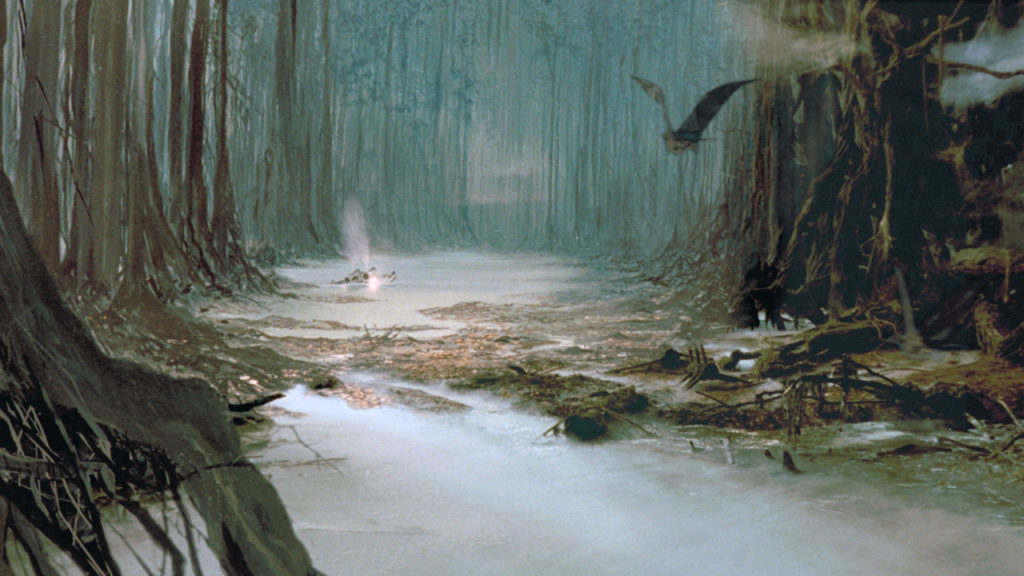 The swamp on Dagobah from The Empire Strikes Back.