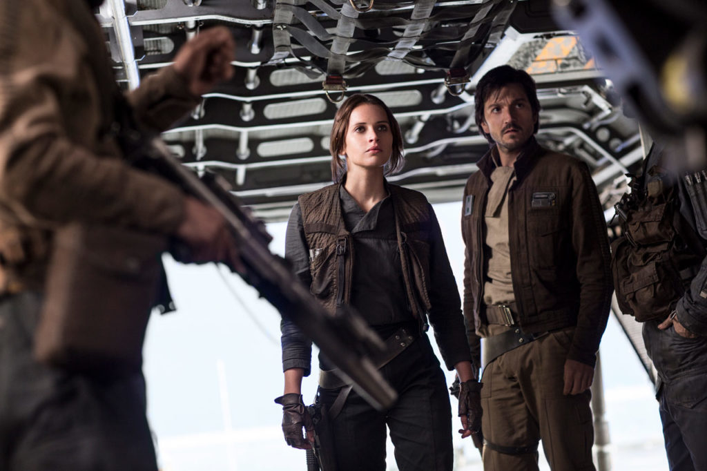 Jyn and Cassian in Rogue One: A Star Wars Story.