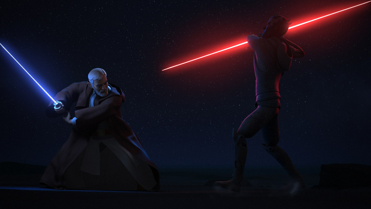 Obi-Wan Kenobi fights Maul for the last time.