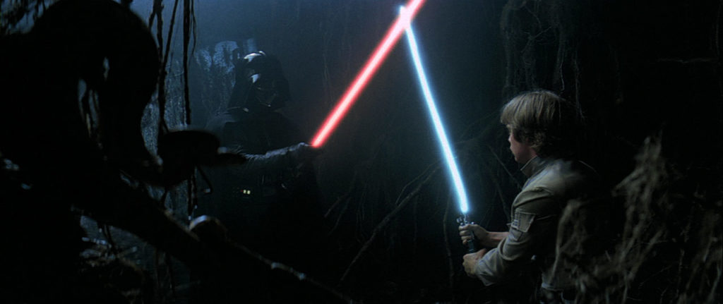 Luke Skywalker faces a vision of Darth Vader on Dagobah.