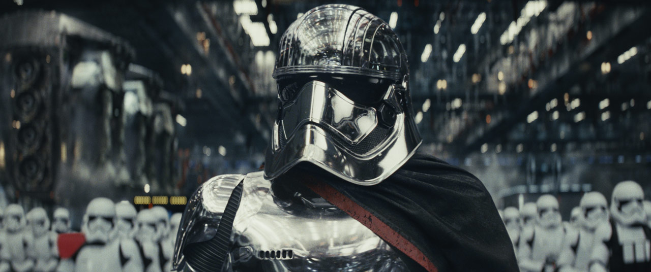 Captain Phasma leads First Order troops in Star Wars: The Last Jedi.