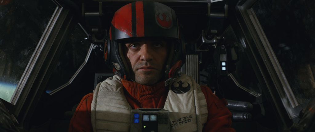 Poe Dameron in the cockpit of his X-wing.