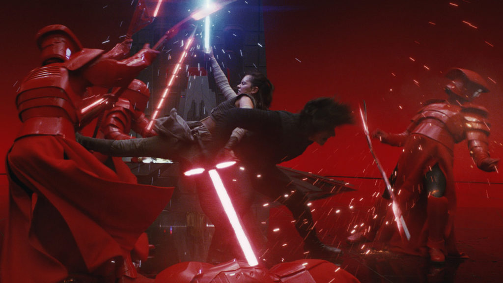 Rey and Kylo Ren versus the Praetorian Guards in Star Wars: The Last Jedi.