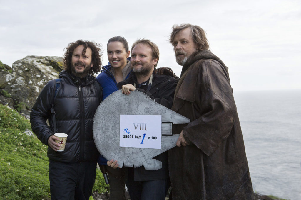 Rian Johnson, Ram Bergman, Daisy Ridley, and Mark Hamill kicking off the filming of Star Wars: The Last Jedi.
